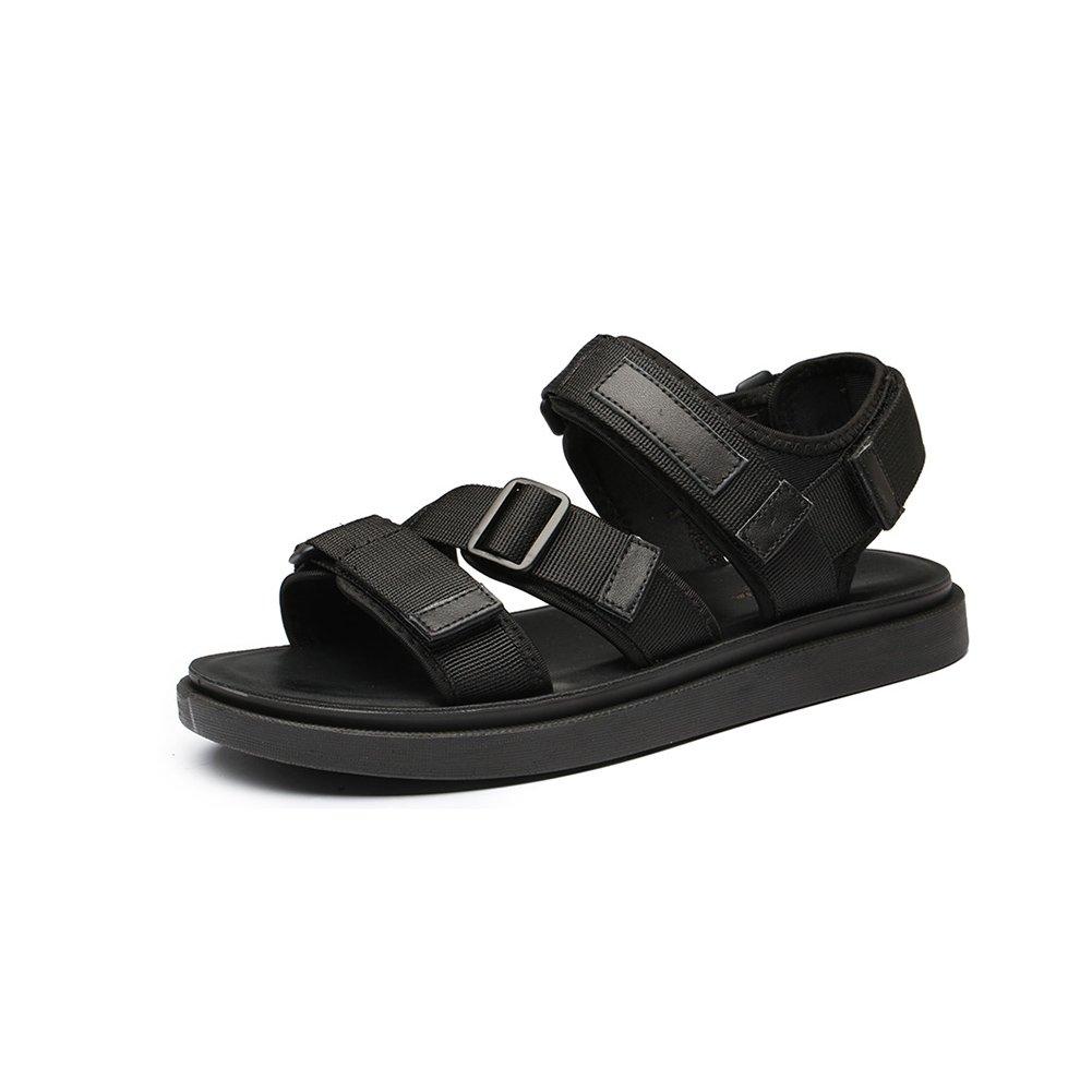 WYYY Calzado De Hombre Sandalias Temporada De Verano Doble Uso Fondo Suave Punta Abierta Color Puro Sandalias Exterior Zapatos De Playa Zapatos Casuales Sandalias De Playa EU39/UK6.5 Negro