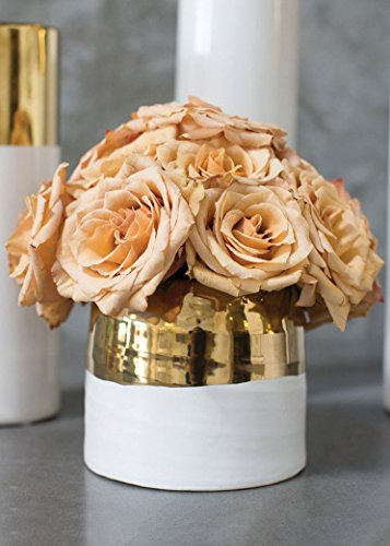 White and Metallic Gold Ceramic Floral Pot - 5