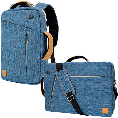 17.3 Inch Universal Canvas Hybird Tote, Messenger, Backpack, Briefcase,4 in 1 Multipurpose Laptop Carrying Bag for MSI, Asus, Lenovo, Acer, Dell, HP, Razer, Samsung, Toshiba, Blue