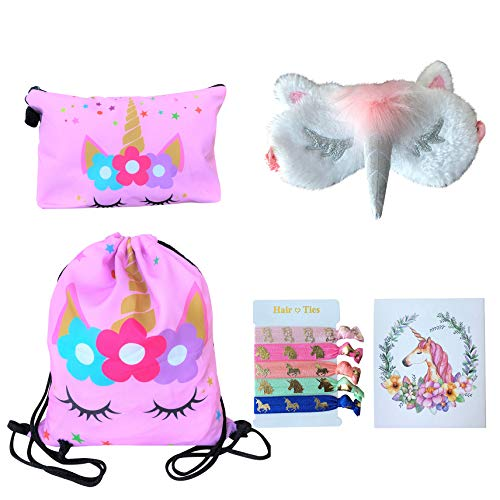 Star Backpack Drawstring All - Unicorn Gifts for Girls - Unicorn Drawstring Backpack/Makeup Bag/Eye Mask/Hair Ties/Card (Pink Star Unicorn)