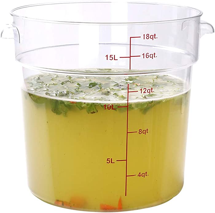 Met Lux 18 qt Round Clear Plastic Food Storage Container - with Red Volume Markers - 12 1/4