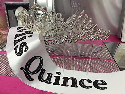 Quince Anos Sash - Mis Quince Anos Rhinestone Tiara Cake Topper and Sash Decoration Keepsake 3 Piece set