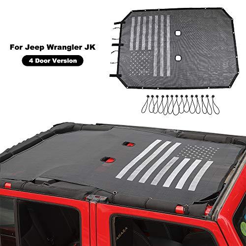 American Flag Sunshade Mesh Bikini Top Sun Shade UV Protection for 2007-2018 Jeep Wrangler JK Unlimited 4 Door ()
