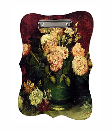 Vincent Van Gogh's Bowl With Peonies And Roses - Jacks Outlet TM - Benelux Shape 2-Sided Hardboard Clipboard (Shape Peony)
