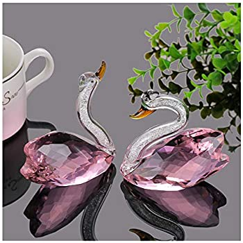 XIANGBAN Crystal Swan Figurine Collection Valentine's Day Decorative Statue (Pink)