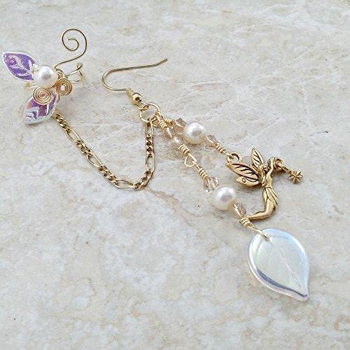 Crystal Fairy Chain Ear Cuff Earring Gold - Single or (Larp Wood Elf Costume)
