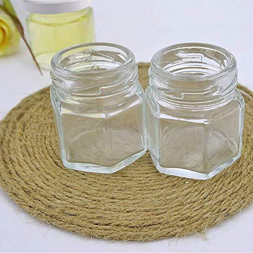 1b87d1bad277 Woaiwo-q Clear Hexagon Jars 1.5oz with Lids White,Glass Jars for  Spice,Foods,Jams,Liquid,Mason Jars for Storage 25 Pack