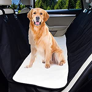 Dog Car Seat Cover: Hair Free Rear Bench! Convertible Black Hammock Shaped Comfort Accessory for Cars, SUVs, Trucks & Carriers. Waterproof, Nonslip, Washable Pet Backseat Protector, Pets Blanket & Bag