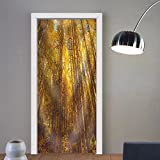 Gzhihine custom made 3d door stickers Golden Woods Fabric Home Decor For Room Decor 30x79