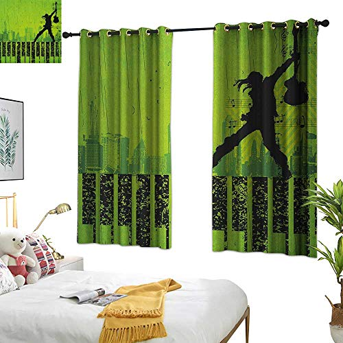Warm Family Grey Curtains Popstar Party,Music in The City Theme Singer with Electric Guitar on Grunge Backdrop, Lime Green Black 84