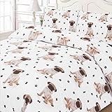 Dreamscene Luxuriously Soft Animal Pug Duvet Cover Bedding Set With Pillowcases, White, Super-King by Dreamscene