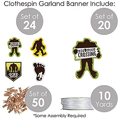 Big Dot of Happiness Sasquatch Crossing - Bigfoot Party or Birthday Party DIY Decorations - Clothespin Garland Banner - 44 Pieces: Toys & Games
