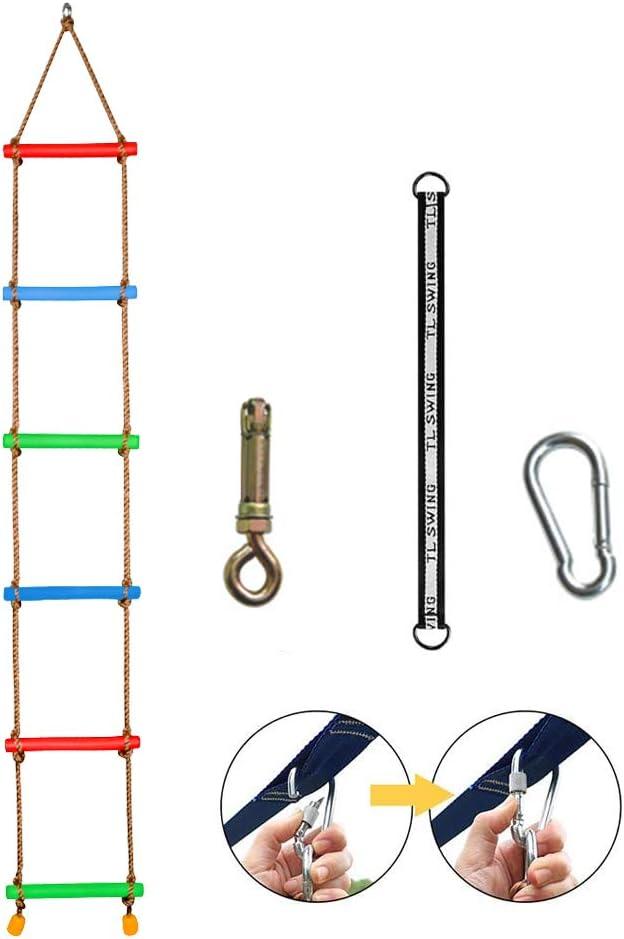 CABINA HOME 6 Pasos Escalera de Cuerda de Escalada con Tornillo de expansión de Carga máxima de 250 kg, Correa de conexión de 45 cm niños - Juegos al ...