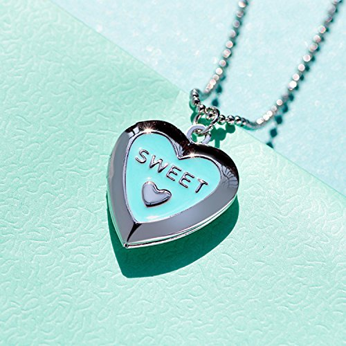 "Polished Love Heart Locket Pendant Necklace Engraved ""Love"" Memories Photo Locket Gold or Silver Necklace (Heart sweet locket)"