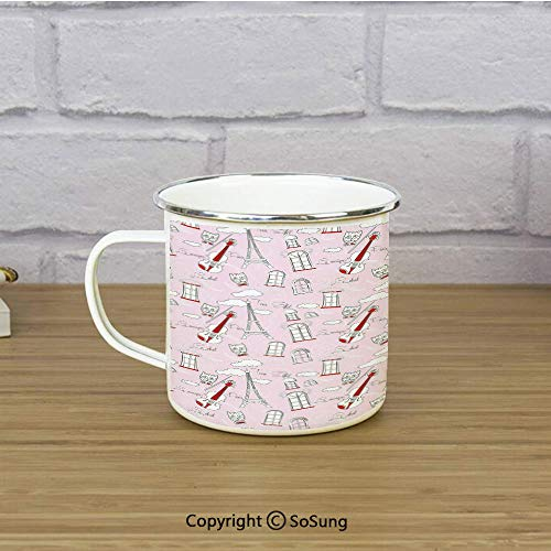Paris Enamel Camping Mug Travel Cup,Abstract City Image Violin Cat with Bow Tie Eiffel Tower Illustration Decorative,11 oz Practical Cup for Kitchen, Campfire, Home, TravelPale Pink Scarlet White