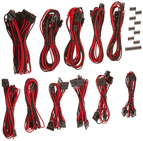 Red Power Package (Corsair CP-8920155 Premium PSU Cable Kit. Individually Sleeved Cables, Pro Package, Red/Black)