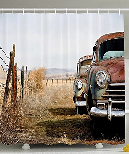 DENGYUE Old Car Shower Curtain Invalid Brown In Deserted Fence Land Under Bright Sunlight