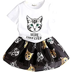 FANCYKIDS Little Girls Toddler Cats Kids Dress Birthday Top Shirt Skirt Outfit (4 to 5 Years Old, Cat)