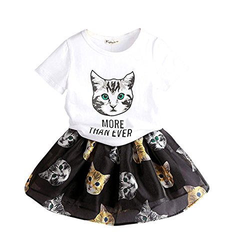 FANCYKIDS Little Girls Toddler Cats Kids Dress Birthday Top Shirt Skirt Outfit (3 To 4 Years Old, Cat)