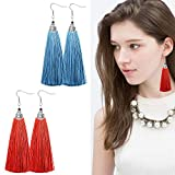 Besteel Handmade Multicolor Tassel Dangle Earrings for Women Girls Long Fringe Boho Drop Earring
