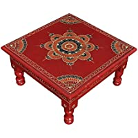 Small Side Tables Wooden Bajot Puja Chowki 11 X 11 X 5.5 Inches