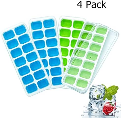 Ice Cube Trays, Eboss 4-Pack Easy-Release Silicone and Stackable Flexible 14-Ice Trays with Spill-Resistant Removable Lid, BPA Free Ice Cube Molds for Chill Drinks (Blue & Green)