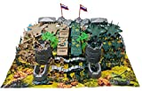 88 Piece Army Man Playset with Vehicles Jets Watch Tower and Playmat