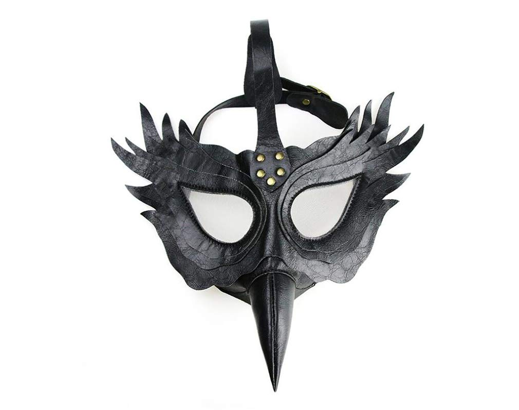DUBAOBAO Steampunk Peste Bird Bocca Medico Maschera di Halloween Regalo, Metallo + Pu Pelle