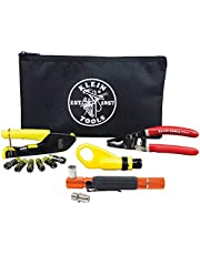 RG6/6Q Coaxial Cable Install Kit with Tester and F-Connectors, Includes Cutter, Radial Stripper, Crimper Klein Tools VDV026-227