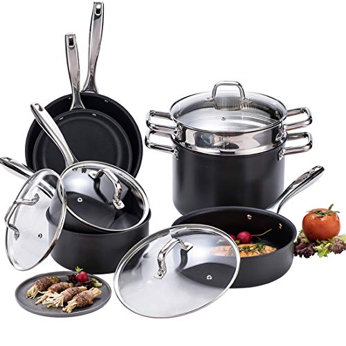 (Momscook Hard-Anodized Aluminum Nonstick Cookware Set, 3-Layers Nonstick Coating Full Kitchen Pans and Pots Set with Riveted Stainless Steel Handles, 11-Piece,)