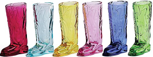 Circleware Kickback Assorted Colors Cowboy Boot Shot Glasses, Set of 6, 1.5 - Wine Boot Cowboy