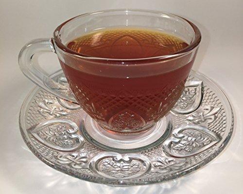 Tea Cup Set 12 Piece Cup & Saucer Set Glass Tea Party Microwave Safe Coffee or Espresso by Eleganceinlife (Image #4)