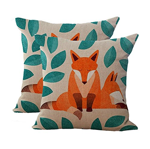 Hand Bed Painted Set (Key-Sunn Set of 2 Hand-Painted Cute Fox Cartoon Cushion Cover Cotton Linen Throw Pillow Case Sham Square Pillowcase Home Sofa Kitchen Chair Seat Office)