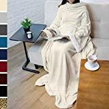 Deluxe Fleece Blanket with Sleeves by Pavilia | Elegant, Cozy, Extra Soft, Functional, Lightweight (Latte)