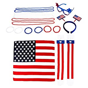 Patriotic Party Accessories - 16-Piece American Flag Party Costume Includes Sunglasses, Headband, Bead Necklaces, Bracelets, Socks, and Bandana for 4th of July