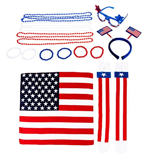 Patriotic Party Accessories - 16-Piece American Flag Party Costume Includes Sunglasses, Headband, Bead Necklaces, Bracelets, Socks, and Bandana for America Themed Parties