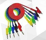 "5Pcs 4mm Silicone Banana Plug to Crocodile Alligator Clips Set 24A 1m/39.4"" Test Probe Lead Wire Cable"