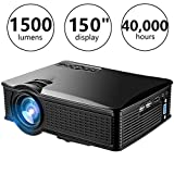WEILIANTE HD Mini Video Projector, 1500 Lumens Home Theater Projector Support 1080P HDMI AV VGA USB SD for Home Cinema Movie Laptop iPhone Andriod Smartphone
