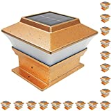 iGlow 18 Pack Copper Outdoor Garden 4 x 4 Solar LED Post Deck Cap Square Fence Light Landscape PVC Vinyl Wood Bronze
