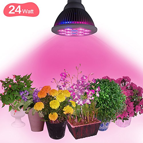 Juzihao 24W LED Plant Grow Lights, 3 Blue/9 Red E27 Growing Bulbs for Indoor Garden Greenhouse Hydroponic Lamps