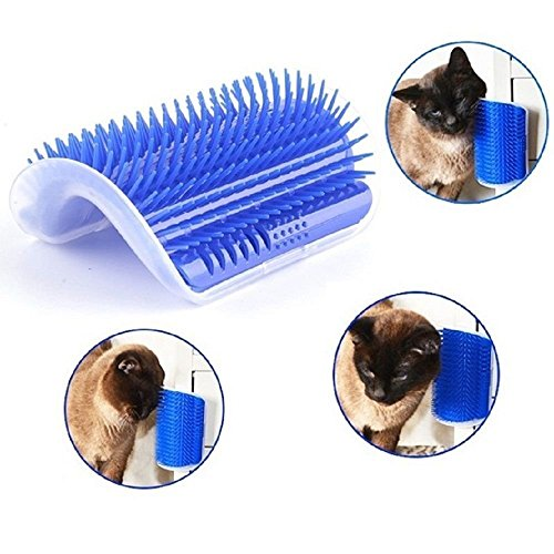 Gold Happy Pet Cat Self Groomer Grooming Tool Cat Massage Device Corner for Dogs Cats Hair Shedding Trimming Hair Removal Brush with Catnip by Gold Happy
