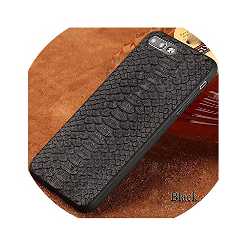 (Phone case for iPhone Real Calf Leather Back Cover Case/Natural Python Skin Leather Case,01-Black,P7-for iPhone 8)