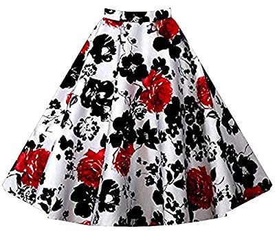 Aecibzo Full Circle 1950's Floral A-Line Pleated Vintage Skirts Women Plus Size