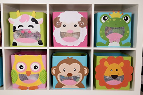 Clever Creations Cute Smiling Frog Collapsible Toy Storage Organizer Toy Box Folding Storage Cube Kids Bedroom | Perfect Size Storage Cube Books, Kids Toys, Baby Toys, Baby Clothes by Clever Creations (Image #8)