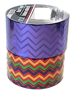 2 Pk Crafting Duct Tape: 1.88 in. x 15 ft DIY Arts & Crafts with Instructions for a Bi-Fold Wallet to Get You Started (Hologram Purple & Variety Colored ZigZag)