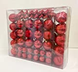 Festive 110 Piece Assorted Christmas Ornament, Red