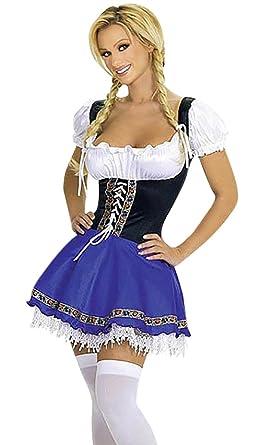 Harrowandsmith White and Blue Dirndl dress Oktoberfest womenu0027s costume lederhosen Octoberfest Womenu0027s Bavarian Beer Party German  sc 1 st  Amazon UK & Harrowandsmith White and Blue Dirndl dress Oktoberfest womenu0027s ...