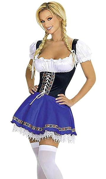 Harrow andsmith Color Blanco y Azul tirolesa Oktoberfest Disfraz Mujer Piel Pantalón Oktoberfest Mujeres de bayerischen