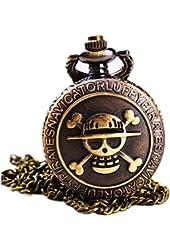 Antique Bronze Anime Skull One Piece Luffy Quartz Pocket Watch with Chain New