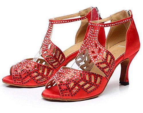 KUKI Zapatos de baile latino Zapatos de suela adulta de tacón alto para adultos Zapatos de baile de salón de baile de diamantes 11